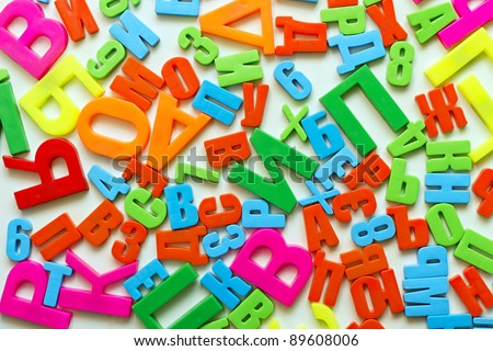 Colorful alphabet letters on a magnet