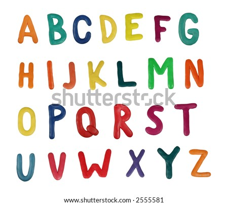 Colorful alphabet made from plasticine (isolated on white). Use it to make your own message - stock photo