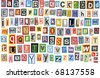 Colorful alphabet made of magazine clippings and letters . Isolated on white. - stock photo