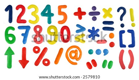 Colorful Alphabet (Second Part - Digits and symbols) made from plasticine (isolated on white). Use it to make your own message.