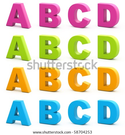 Worksheet A B C D In Vertical Letter 3d letters stock images royalty free vectors shutterstock set of isolated on white part 1 6