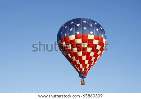 Colorful American Flag Hot Air Balloon - stock photo