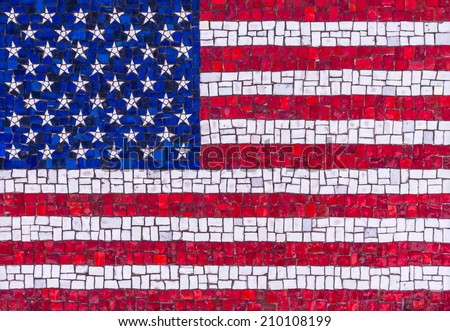 Colorful American flag mosaic  - stock photo
