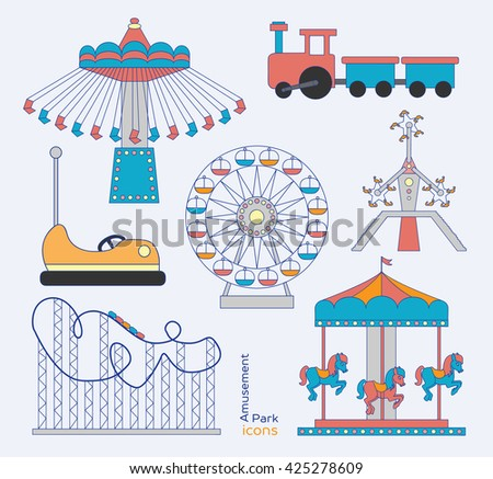 Colorful amusement park or funfair attraction icons - stock photo