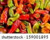 Colorful Anaheim Chili Peppers Close-up - stock photo