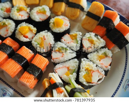 Colorful and healthy sushi set