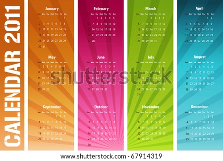 Colorful and modern calendar - starts sunday - stock photo