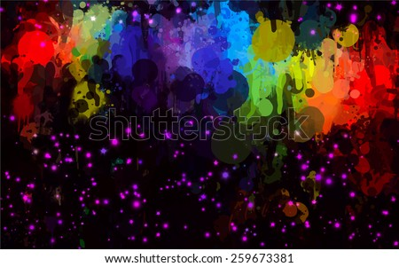 Colorful and purple stars brush strokes on black background. Raster version - stock photo