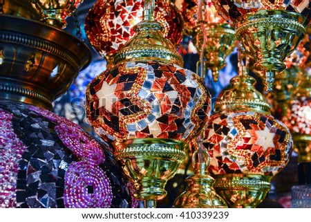 colorful and romantic Turkish lamps in the famous Istanbul market - stock photo