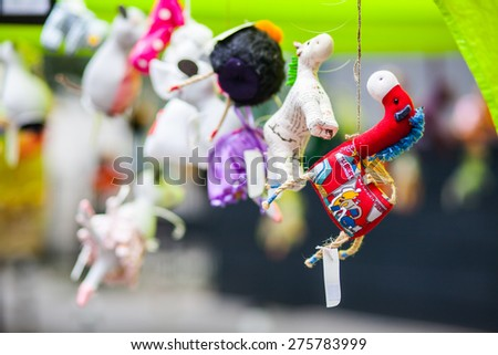 Colorful and small woolen toy animals - stock photo