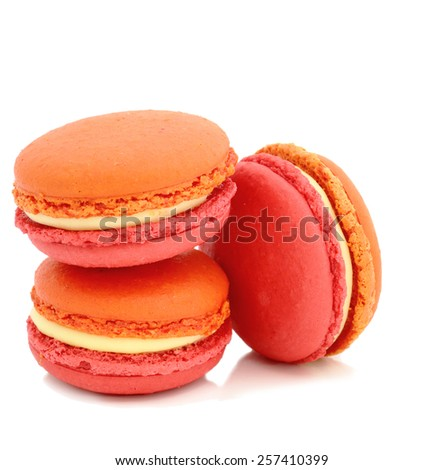 colorful and tasty macaroons over white background - stock photo