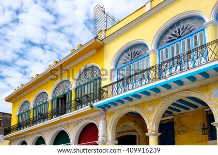 Colorful and typical  colonial houses in Old Havana - stock photo