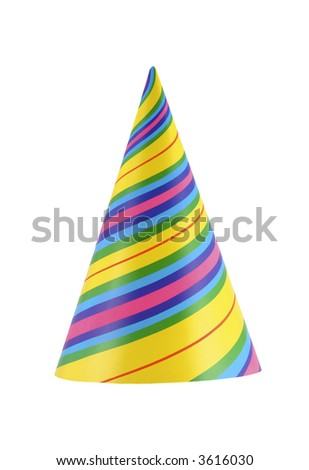 Colorful and vibrant part hat isolated on white - stock photo