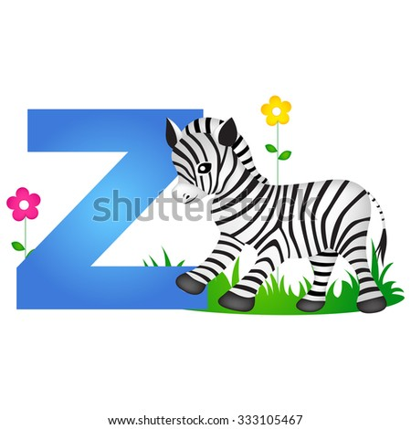 Colorful Animal Alphabet Letter Z With A Cute Zebra Flash Card Isolated On White Background
