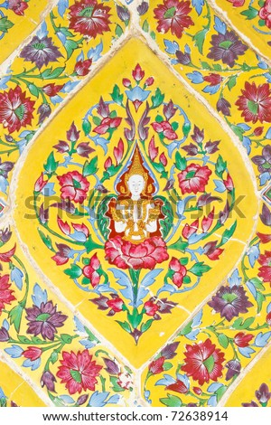 Colorful antique artwork in Ratchabophit temple, Bangkok Thailand. - stock photo