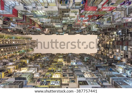Colorful apartment building at Quarry Bay, Hong Kong, Night Time - stock photo