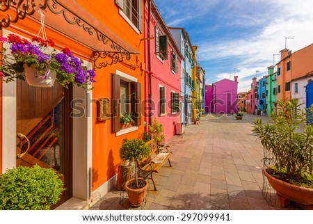Colorful apartment building in Burano, Venice, Italy.