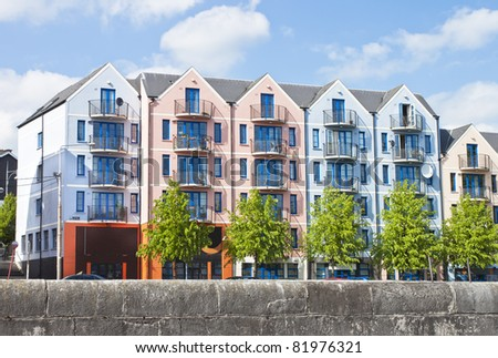 Colorful apartment, building in Cork city, Ireland. - stock photo
