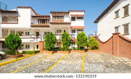 Colorful apartment building in Puerto Vallarta, Mexico. - stock photo