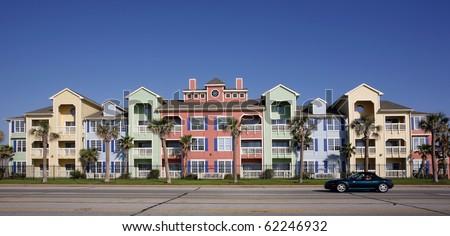 Colorful apartments (condo) - stock photo