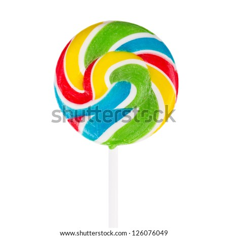 Colorful appetizing lollipop isolated on white background with clipping path - stock photo