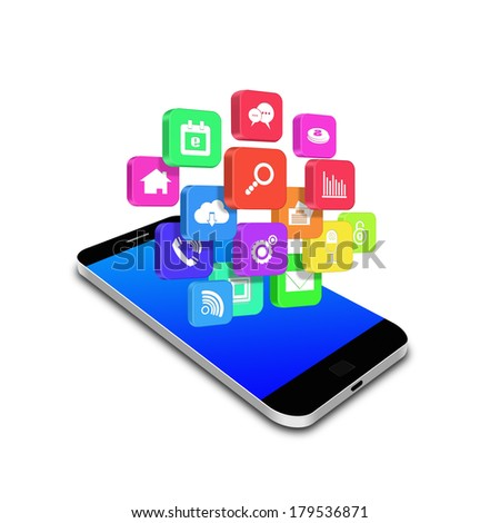 Colorful application icon on smartphone,cell phone illustration