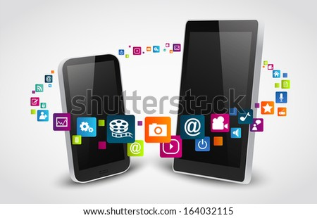 colorful application icon with smart phone and computer  - stock photo