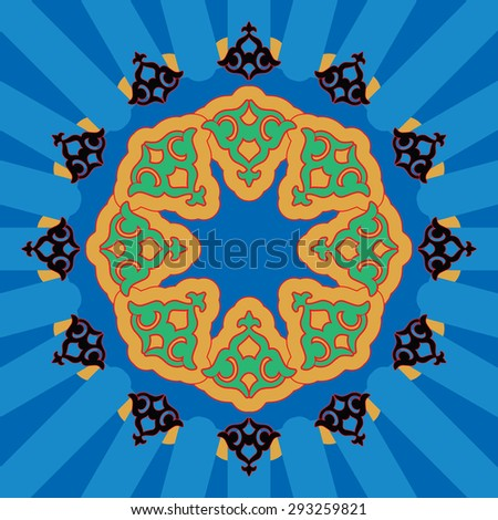 Colorful Arabic pattern - simple - stock photo