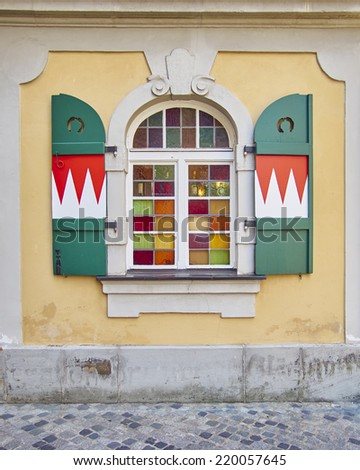 colorful arched window, Bamberg, Germany - stock photo