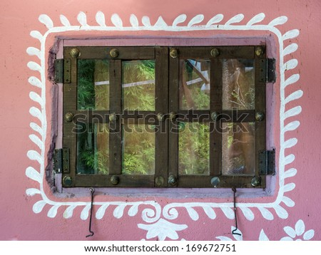 Colorful architectural detail in Arabian, Morocco / window detail - stock photo