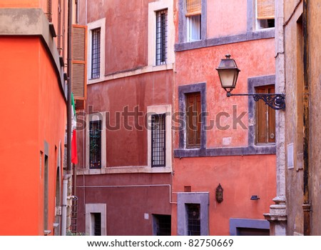 Colorful architecture in Rome, capital of Italy, Europe, with the typical colors that are used throughout the city - stock photo