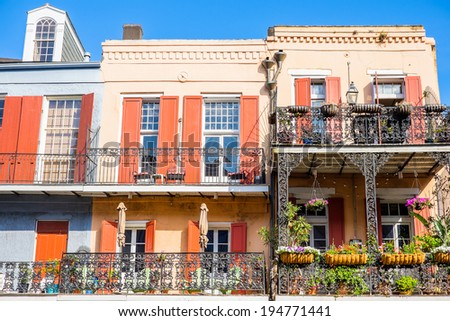 Colorful architecture in the French Quarter in New Orleans, Louisiana. - stock photo