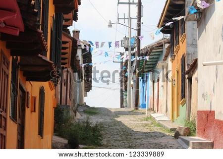 colorful architecture typical  of San Cristobal de las  Casas, Mexico - stock photo