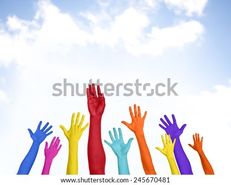 Colorful Arms Raised Volunteer Copy Space Happiness Concept - stock photo