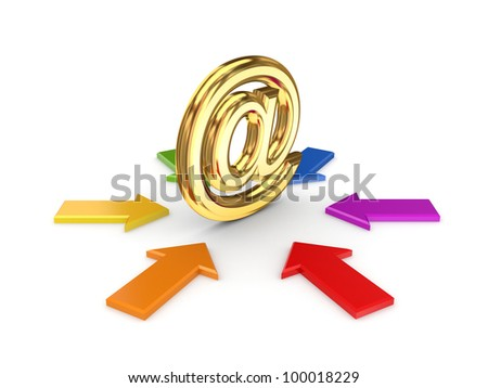 Colorful arrows around AT symbol.Isolated on white background.3d rendered. - stock photo