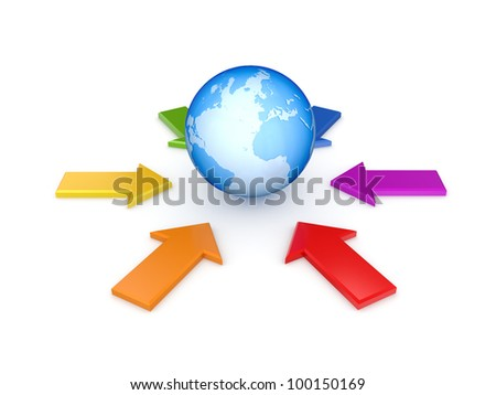 Colorful arrows around the globe. Isolated on white background.3d rendered.