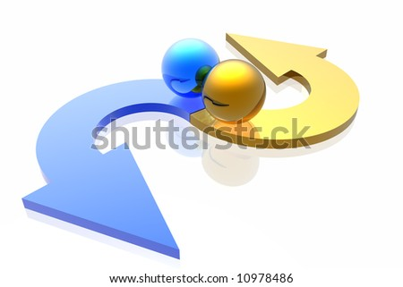 colorful arrows isolated in white background - stock photo