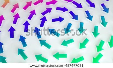 Colorful arrows moving in spiral. 3d concept illustration