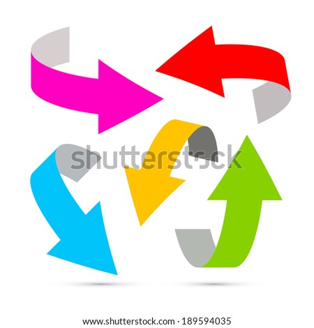 Colorful arrows on white background - stock photo