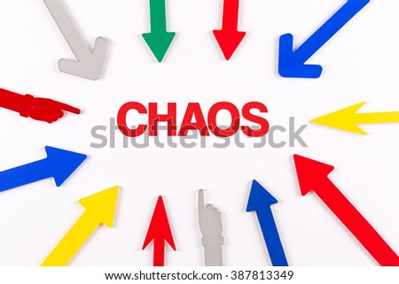 Colorful arrows showing to center with a phrase CHAOS