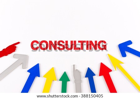 Colorful arrows showing to center with a word CONSULTING - stock photo