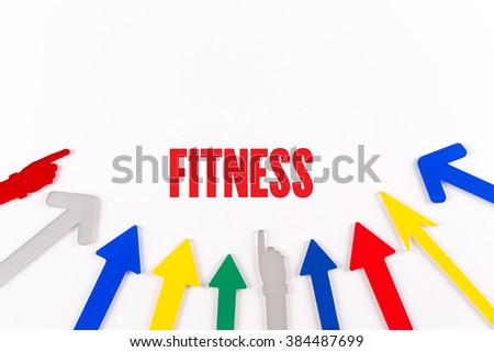 Colorful Arrows Showing to Center with a word FITNESS