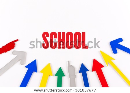 Colorful Arrows Showing to Center with a word SCHOOL