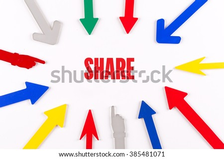 Colorful Arrows Showing to Center with a word SHARE - stock photo