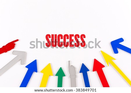 Colorful Arrows Showing to Center with a word SUCCESS