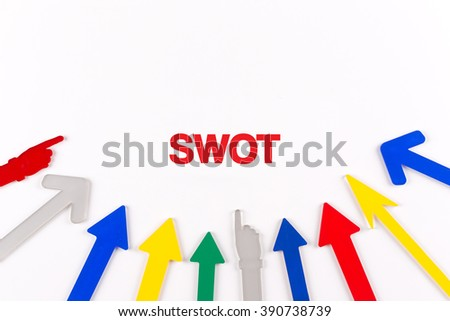 Colorful arrows showing to center with a word SWOT