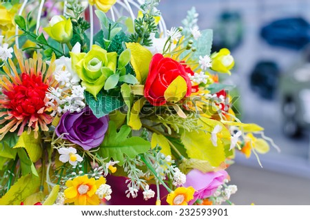 Colorful artificial flowers decorative
