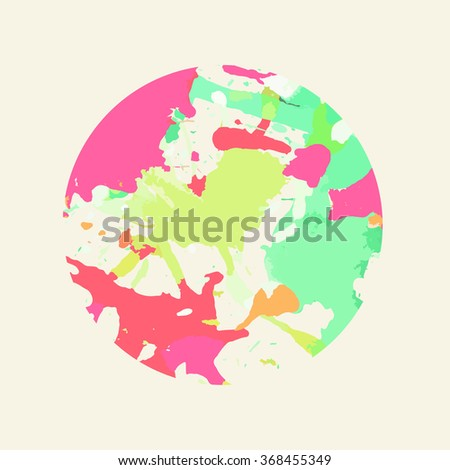Colorful artistic paint splashes in a circle. - stock photo