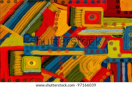 Colorful artsy looking abstract illustration digital creation to use as background or to draw the eye. - stock photo