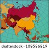 Colorful ASIA Map. Cartography collection. - stock photo